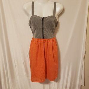 Xhilaration M Gray Orange polka dot dress